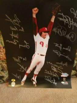 1980 Philadelphia Phillies Multi Signed Autograph 16x20 Phot
