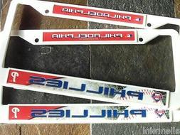2 Philadelphia Phillies White Plastic License Plate Frames -