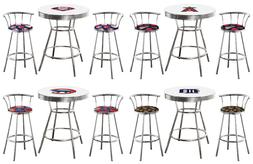 3 PC BASEBALL LOGO THEMED WHITE BAR TABLE SET WITH 2 CHROME