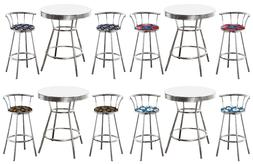 3 PIECE MLB THEMED CHROME METAL WHITE BAR TABLE SET W/BACKRE