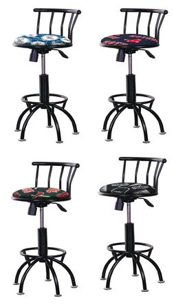 "BAR STOOL BLACK ADJUSTABLE  24""-29"" TALL MLB TEAM LOGO FABRI"