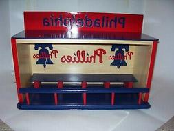 bobble heads display case phillies handcrafted pinewood