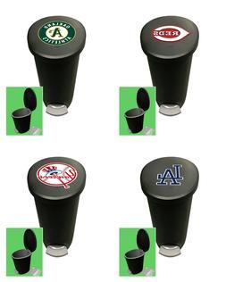 MLB Trash Can Wastebasket Step On Black/Gray Plastic 2.6 Gal