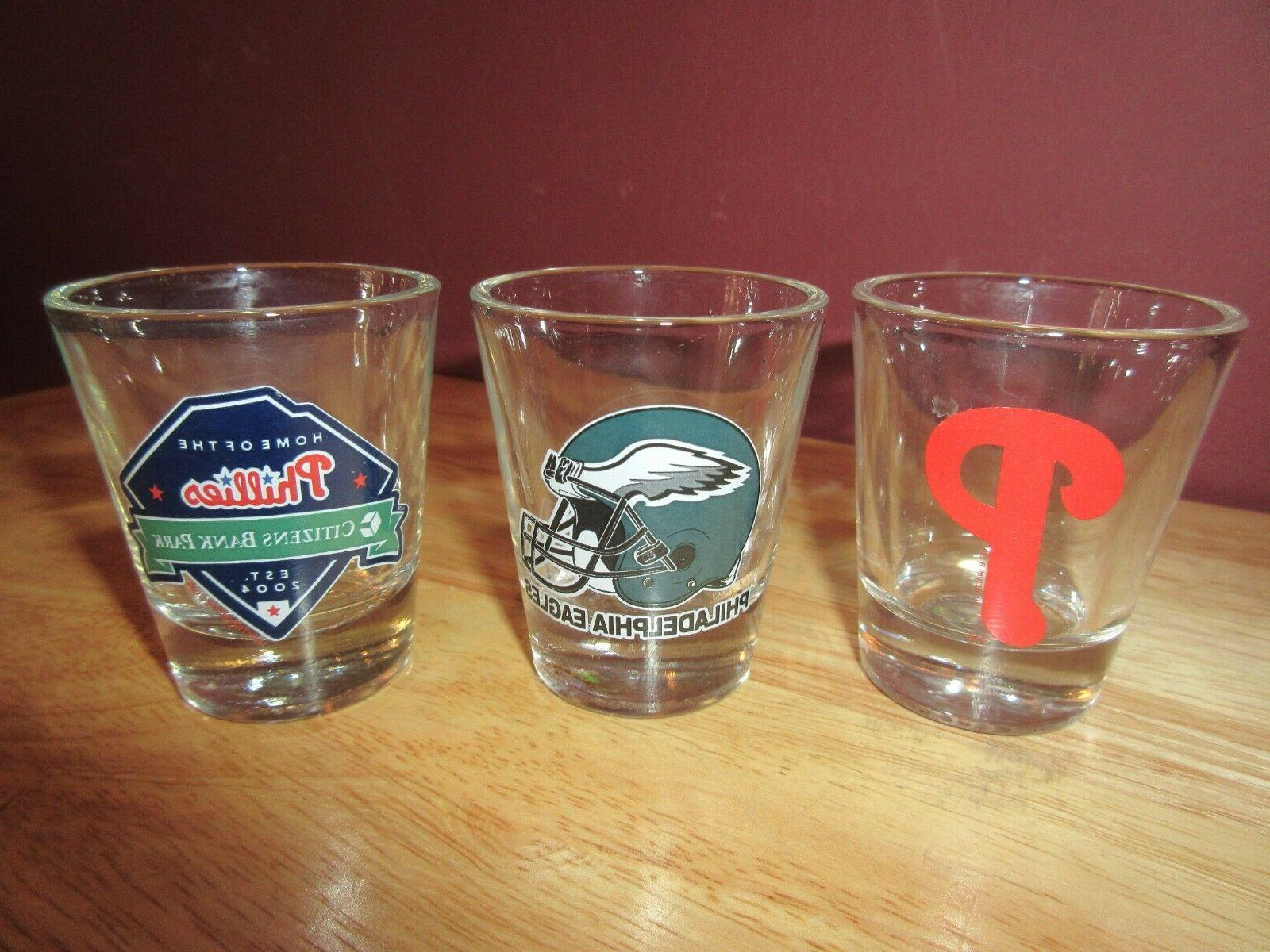 3 philadelphia phillies eagles shot glasses baseball