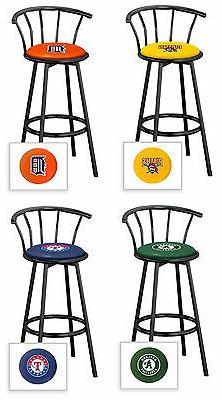 "Bar Stool MLB Team Logo 24"" or 29"" Tall Black Metal Swivel S"