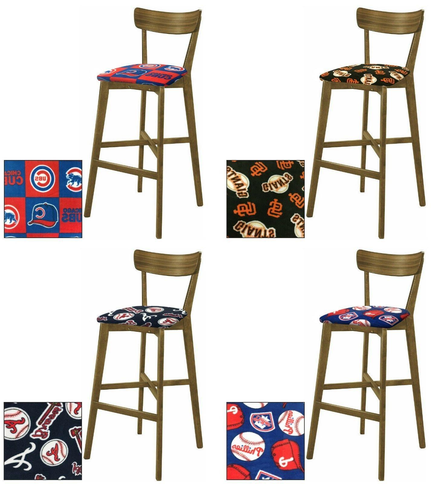 mlb 30 walnut finish modern bar stool