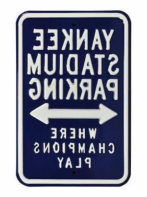 mlb fans parking metal steel street sign