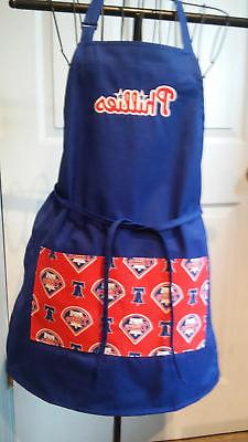 Philadelphia Phillies  - BBQ  Kitchen Apron - Handmade  - Em