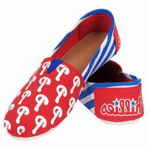philadelphia phillies pattern slip on canvas shoes