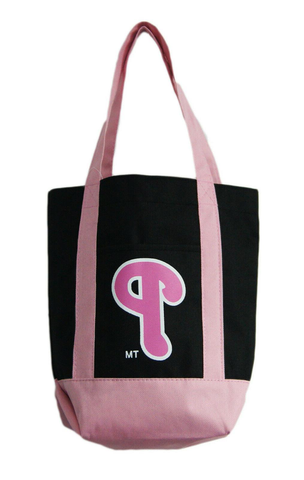 philadelphia phillies small pink black tote bag