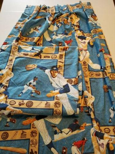 sears mlb vintage curtains baseball 1980 s