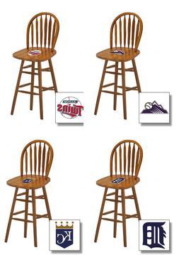 "MLB 24"" OAK FINISH SWIVEL SEAT ARROW BACK BAR STOOL WITH BAS"