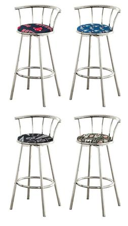 "MLB BAR STOOL 24"" OR 29"" TALL CHROME SWIVEL BACKREST TEAM FA"