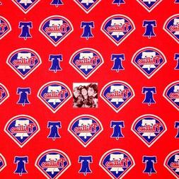 MLB Baseball Philadelphia Phillies Logos Red 18x29 Cotton Fa