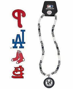 MLB Baseball Team Logo Shell Bead Sports Necklace Red Sox &