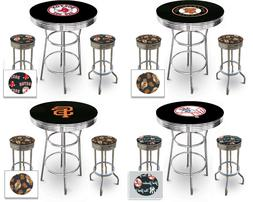 MLB LOGO CHROME METAL BLACK PUB TABLE SET W SWIVEL SEAT STOO