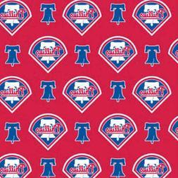 MLB PHILADELPHIA PHILLIES COTTON FABRIC MATERIAL, Fabric Sol