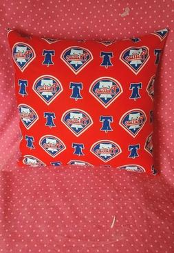 HANDMADE-MLB PHILADELPHIA PHILLIES  THROW PILLOW 12 X 12  CO