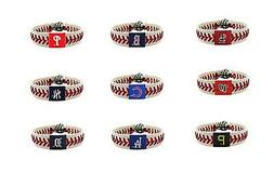 mlb teams leather baseball seam bracelet wristband