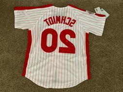 New! Mike Schmidt #20 Philadelphia Phillies Red Pinstripe Zi