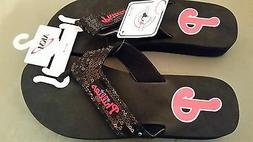 NEW MLB Philadelphia Phillies Sequin Flip Flop Sandals Shoes