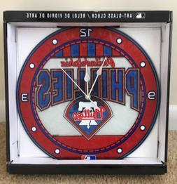Philadelphia Phillies Art Glass Battery Wall Clock Baseball