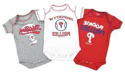 Philadelphia Phillies Baby 3pc Creeper Set Bodysuit Clothes