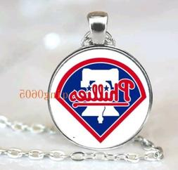 PHILADELPHIA PHILLIES BASEBALL Cabochon Glass Pendant Silver