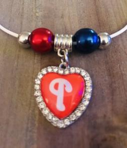 Philadelphia Phillies Crystal Heart Pendant Necklace