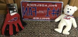 Philadelphia Phillies Fan Lot Of 3 Items- Bear, License Plat