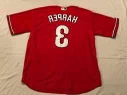 Philadelphia Phillies Harper #3 Red Jersey Custom Stitched