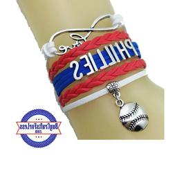 philadelphia phillies leather woven bracelet free shipping
