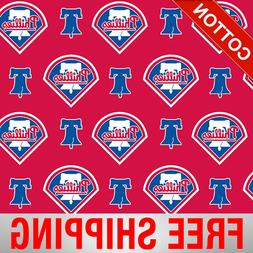 "Philadelphia Phillies MLB Cotton Fabric - 58"" Wide - Style#"