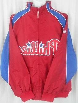 Philadelphia Phillies MLB Majestic Red Textured Full Zip Jac