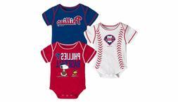 Philadelphia Phillies MLB Peanuts Infant Boy's 3-Pack Bodysu