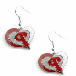 Philadelphia Phillies MLB Silver Swirl Heart Dangle Earrings