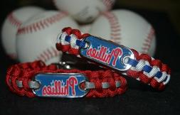 Philadelphia Phillies Paracord Bracelet w/ MLB Dog Tag and M