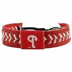 philadelphia phillies red baseball seam leather bracelet