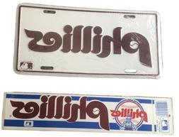 Philadelphia Phillies Vintage License Plate And Bumper Stick