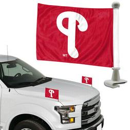 "TWO   PHILADELPHIA PHILLIES  4"" x 6""  CAR OR TRUNK FLAGS FRO"