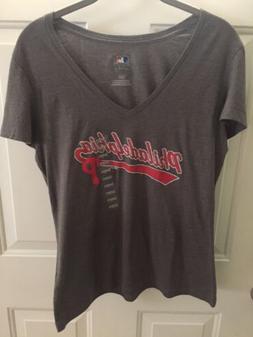 Women's L MLB Philadelphia Phillies V Neck T-Shirt Genuine